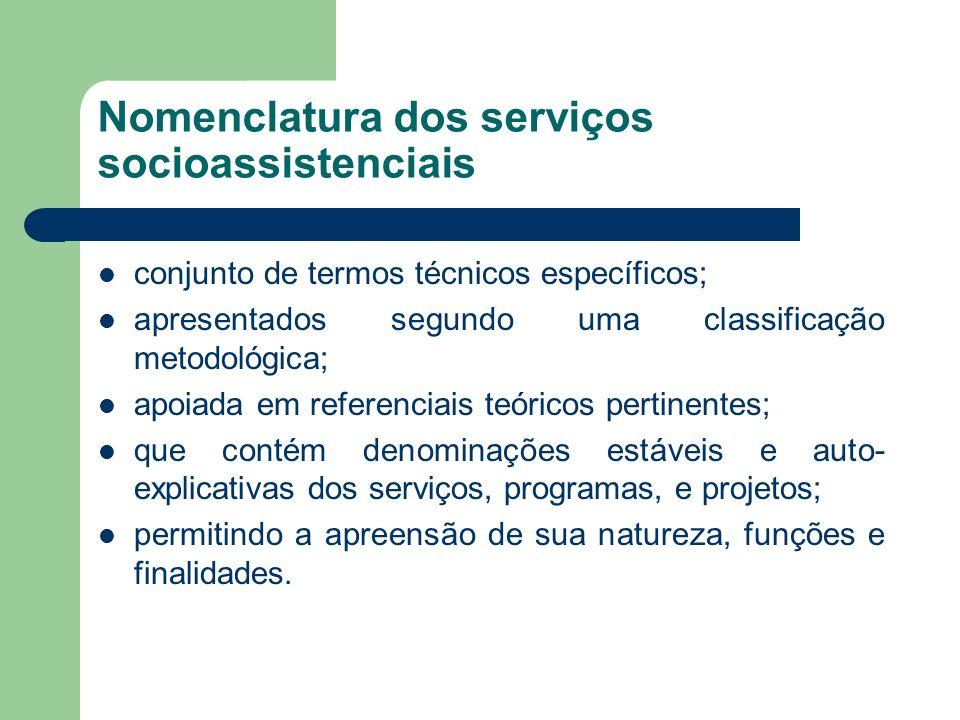 Nomenclatura dos serviços socioassistenciais