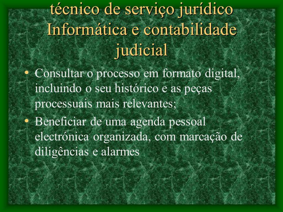 técnico de serviço jurídico Informática e contabilidade judicial