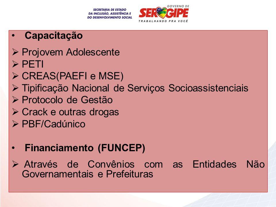 Capacitação Projovem Adolescente. PETI. CREAS(PAEFI e MSE) Tipificação Nacional de Serviços Socioassistenciais.