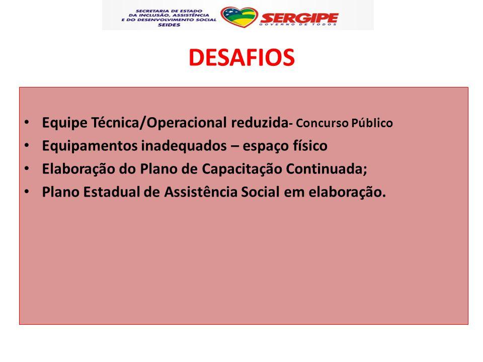 DESAFIOS Equipe Técnica/Operacional reduzida- Concurso Público