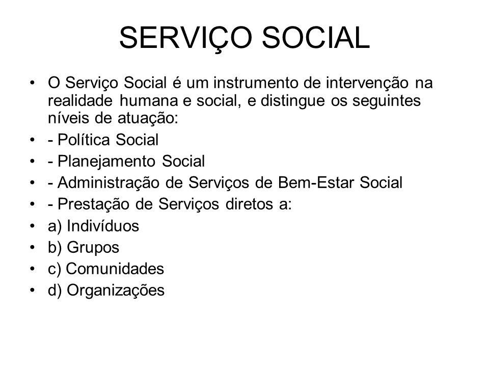 SERVIÇO SOCIAL O Serviço Social é um instrumento de intervenção na realidade humana e social, e distingue os seguintes níveis de atuação: