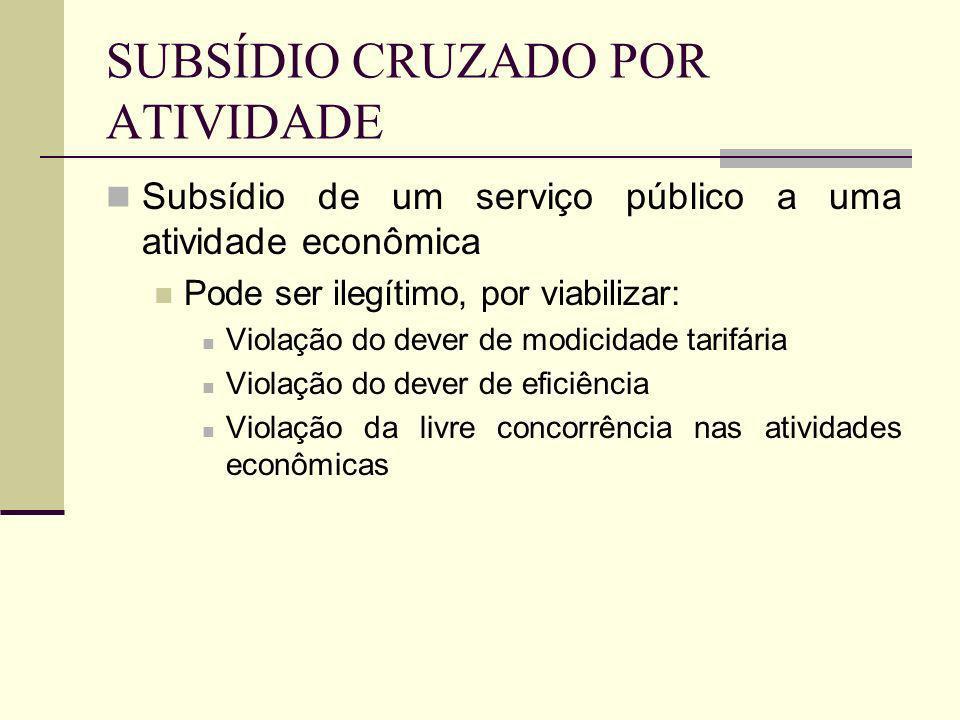 SUBSÍDIO CRUZADO POR ATIVIDADE