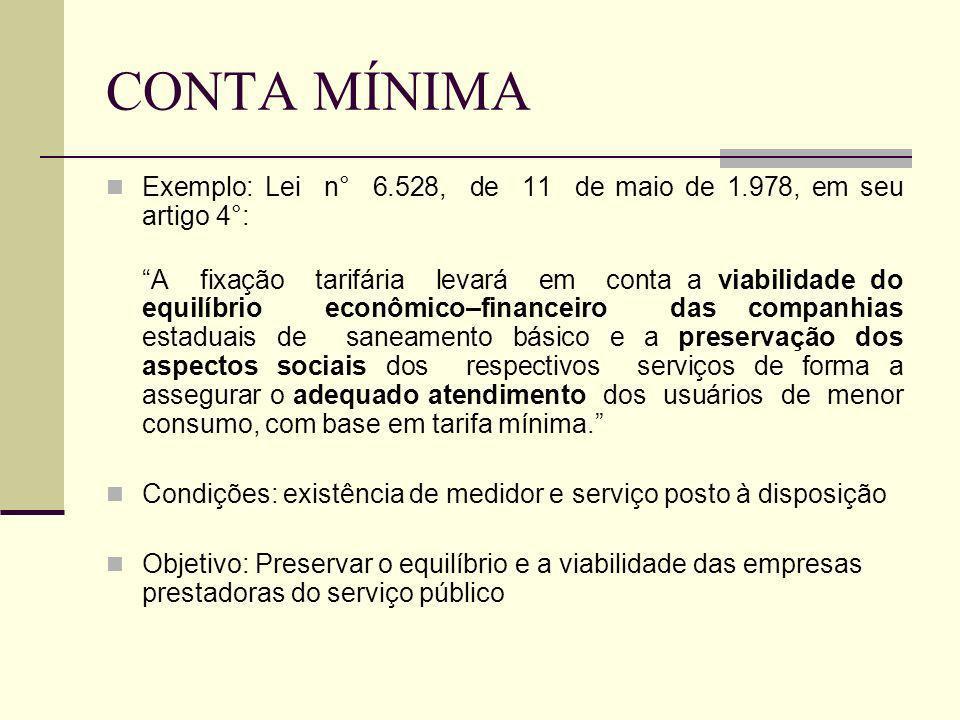 CONTA MÍNIMA Exemplo: Lei n° 6.528, de 11 de maio de 1.978, em seu artigo 4°: