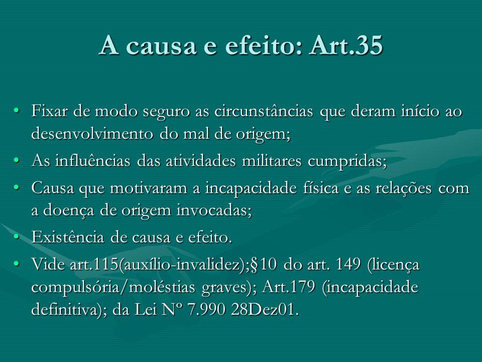 A causa e efeito: Art.35 Fixar de modo seguro as circunstâncias que deram início ao desenvolvimento do mal de origem;