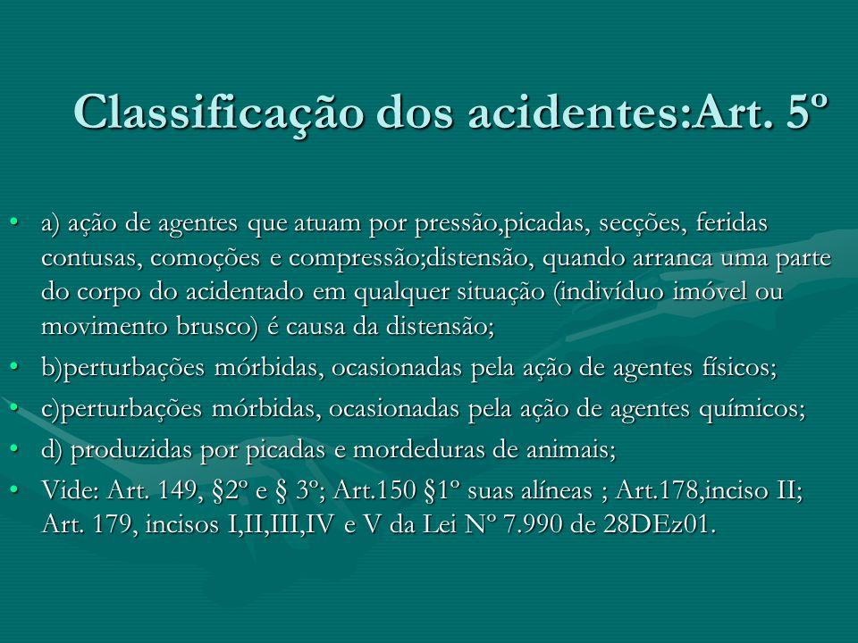 Classificação dos acidentes:Art. 5º