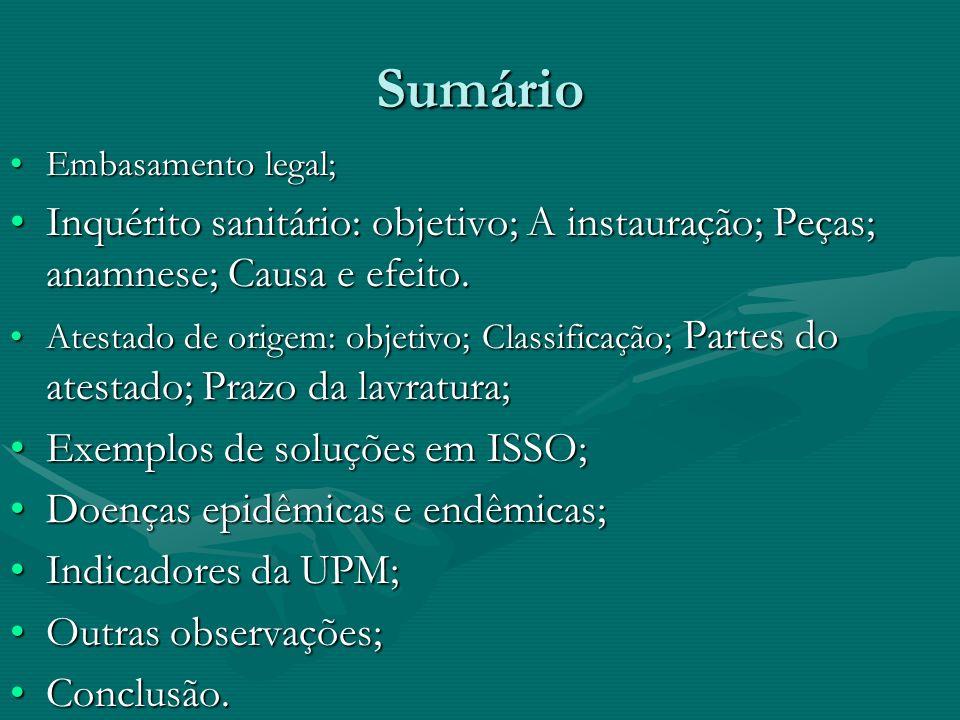 Sumário Embasamento legal; Inquérito sanitário: objetivo; A instauração; Peças; anamnese; Causa e efeito.