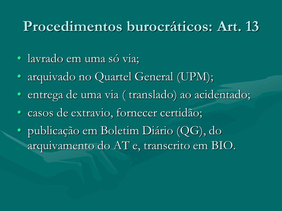 Procedimentos burocráticos: Art. 13