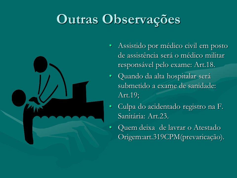 Outras Observações Assistido por médico civil em posto de assistência será o médico militar responsável pelo exame: Art.18.