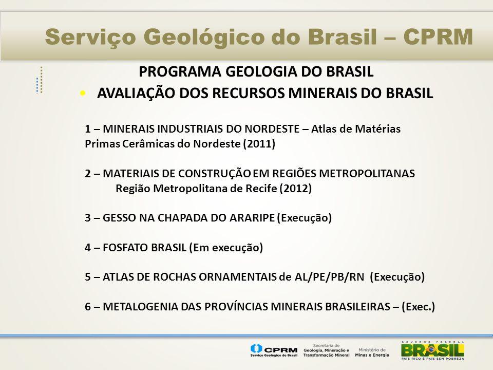 PROGRAMA GEOLOGIA DO BRASIL AVALIAÇÃO DOS RECURSOS MINERAIS DO BRASIL