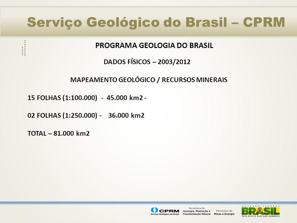 PROGRAMA GEOLOGIA DO BRASIL MAPEAMENTO GEOLÓGICO / RECURSOS MINERAIS