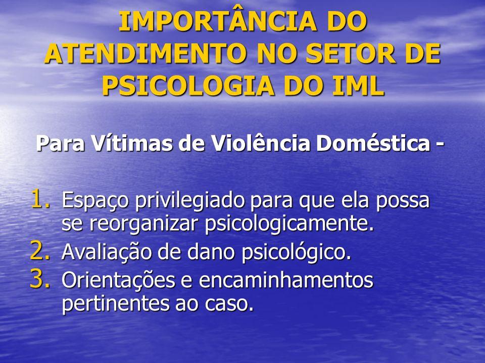 IMPORTÂNCIA DO ATENDIMENTO NO SETOR DE PSICOLOGIA DO IML