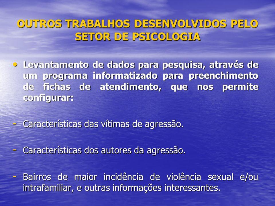 OUTROS TRABALHOS DESENVOLVIDOS PELO SETOR DE PSICOLOGIA