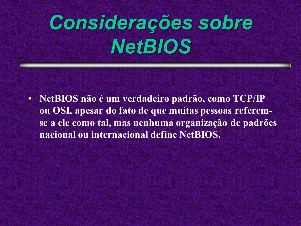 Considerações sobre NetBIOS