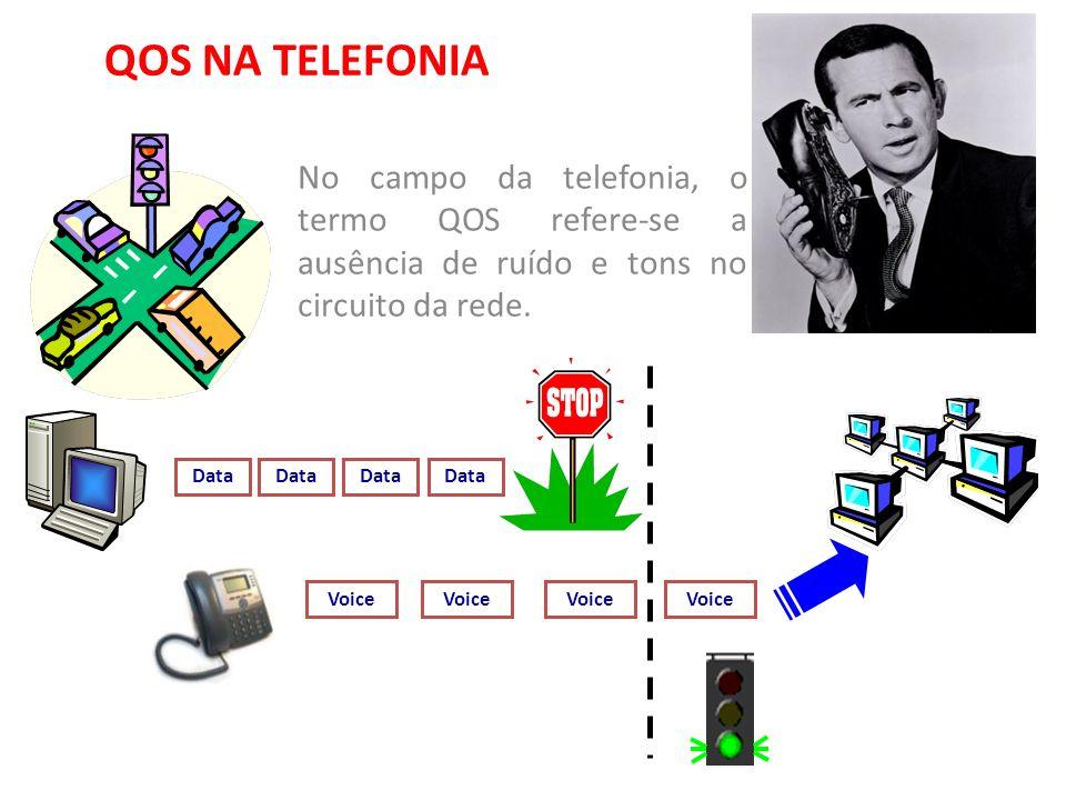 QOS NA TELEFONIA No campo da telefonia, o termo QOS refere-se a ausência de ruído e tons no circuito da rede.