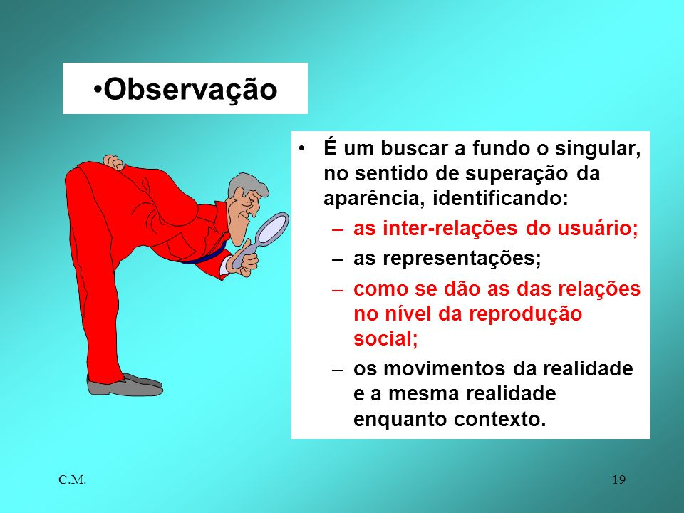 Observação É um buscar a fundo o singular, no sentido de superação da aparência, identificando: as inter-relações do usuário;