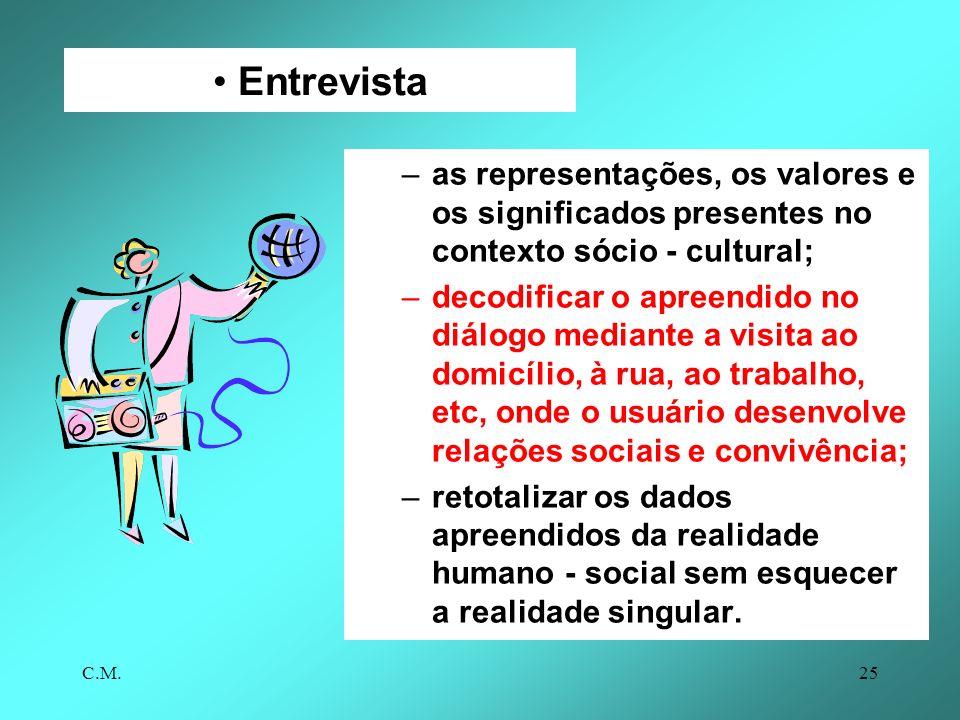 Entrevista as representações, os valores e os significados presentes no contexto sócio - cultural;