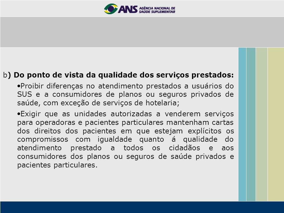 b) Do ponto de vista da qualidade dos serviços prestados: