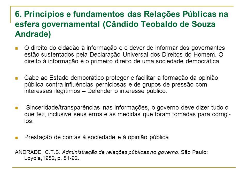 6. Princípios e fundamentos das Relações Públicas na esfera governamental (Cândido Teobaldo de Souza Andrade)