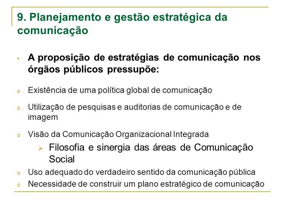 9. Planejamento e gestão estratégica da comunicação