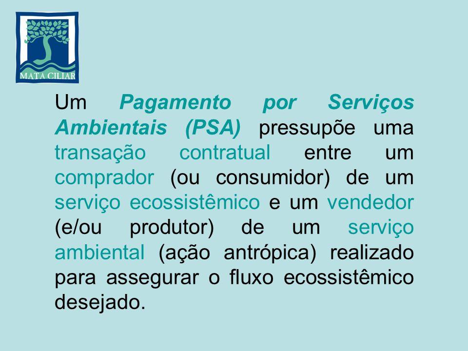 Um Pagamento por Serviços Ambientais (PSA) pressupõe uma transação contratual entre um comprador (ou consumidor) de um serviço ecossistêmico e um vendedor (e/ou produtor) de um serviço ambiental (ação antrópica) realizado para assegurar o fluxo ecossistêmico desejado.