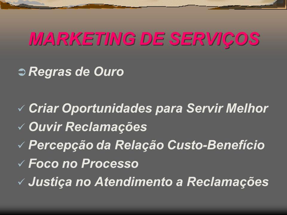 MARKETING DE SERVIÇOS Regras de Ouro