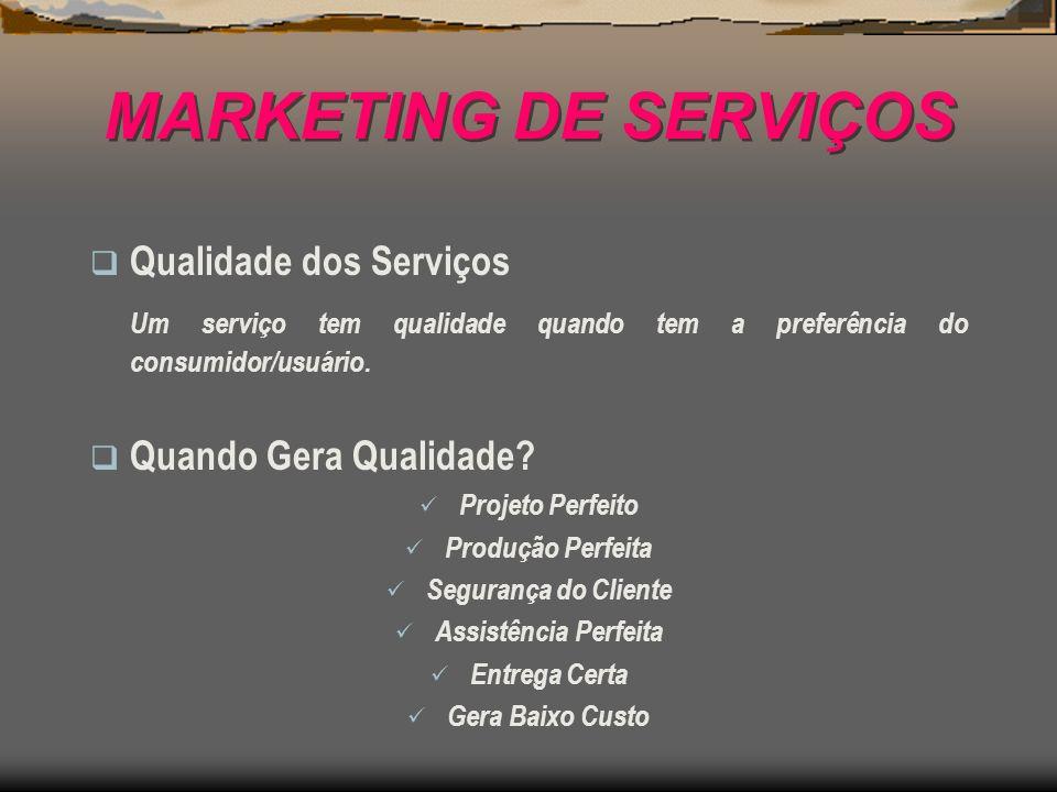 MARKETING DE SERVIÇOS Qualidade dos Serviços