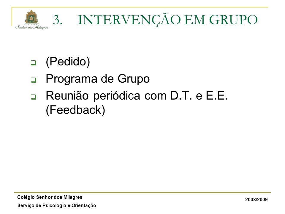 INTERVENÇÃO EM GRUPO (Pedido) Programa de Grupo