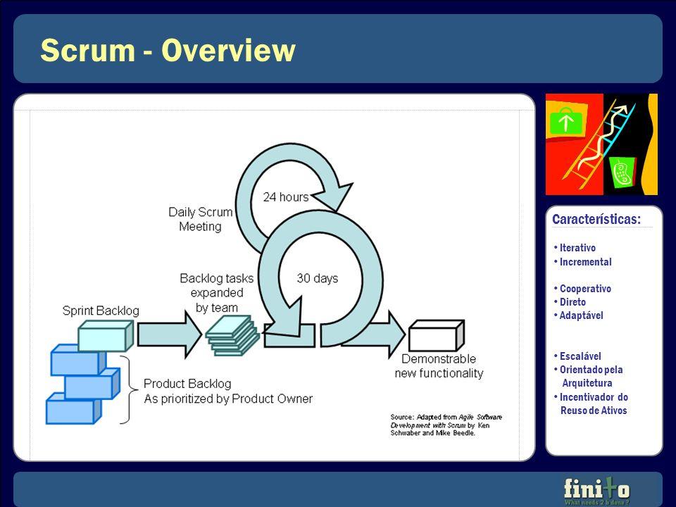 Scrum - Overview Características: Iterativo Incremental Cooperativo