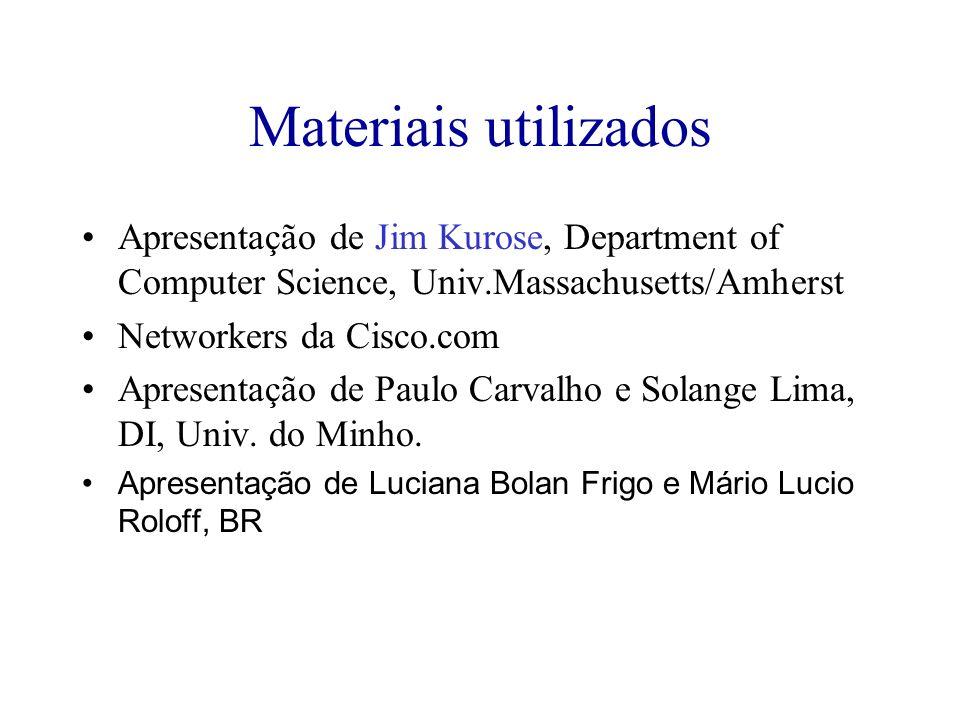Materiais utilizados Apresentação de Jim Kurose, Department of Computer Science, Univ.Massachusetts/Amherst.