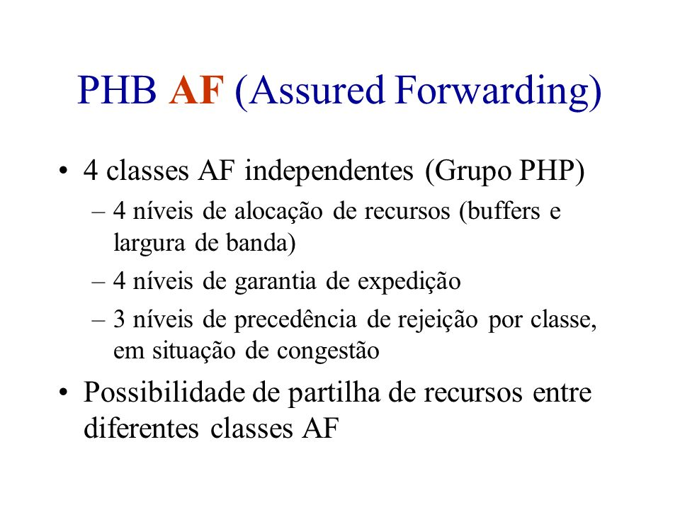 PHB AF (Assured Forwarding)
