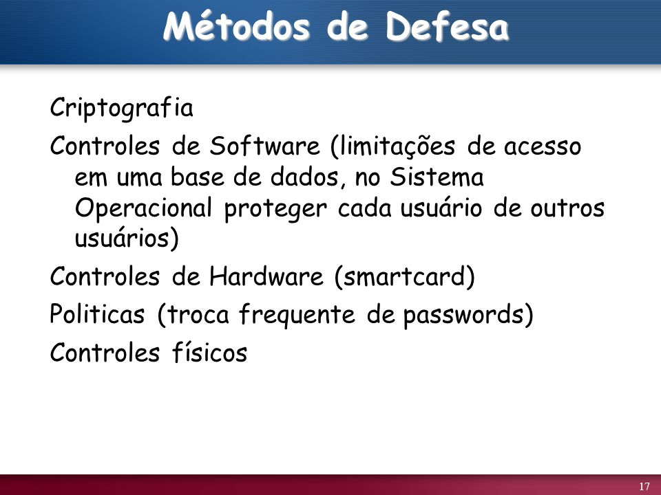 Métodos de Defesa Criptografia