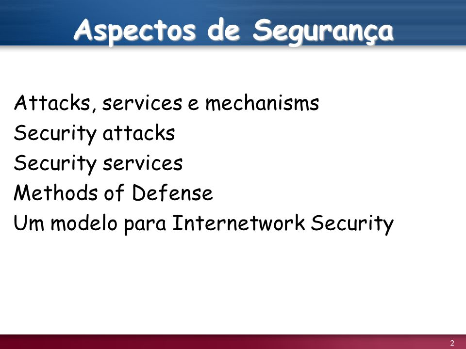 Aspectos de Segurança Attacks, services e mechanisms Security attacks