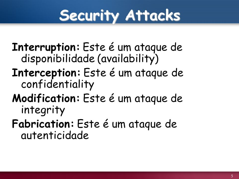 Security Attacks Interruption: Este é um ataque de disponibilidade (availability) Interception: Este é um ataque de confidentiality.