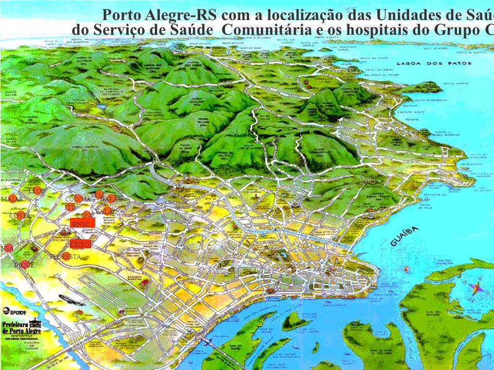 Porto Alegre-RS com a localização das Unidades de Saúde