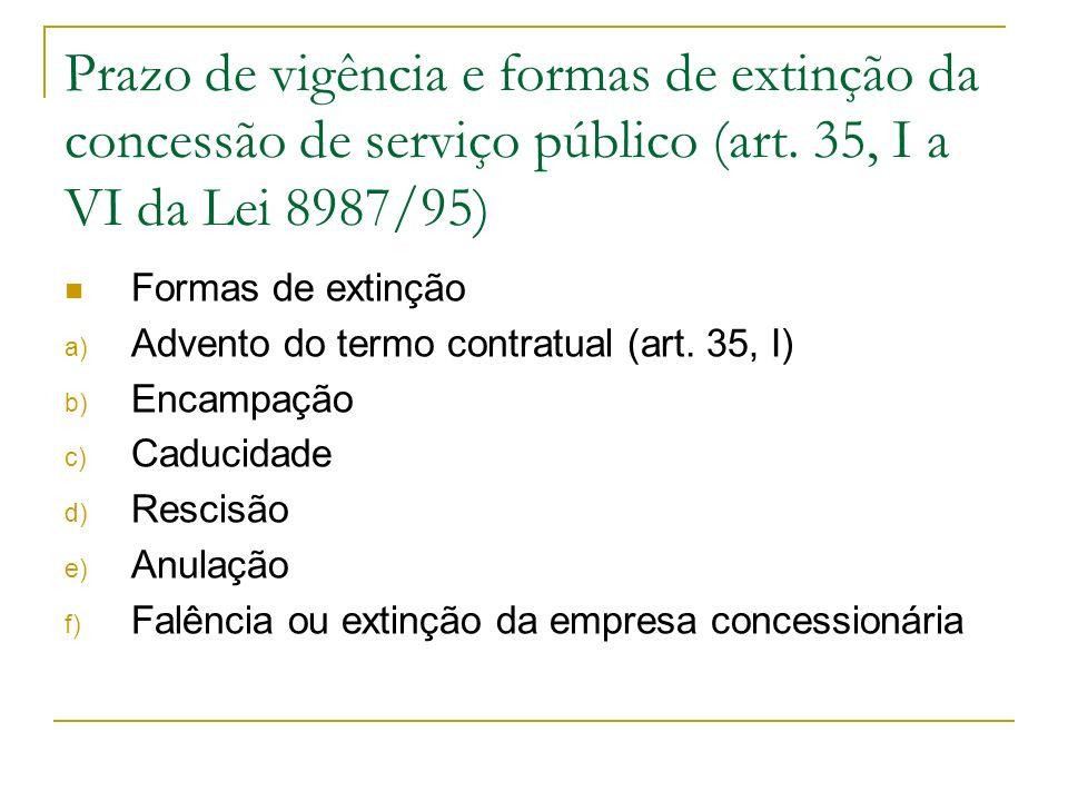 Prazo de vigência e formas de extinção da concessão de serviço público (art. 35, I a VI da Lei 8987/95)