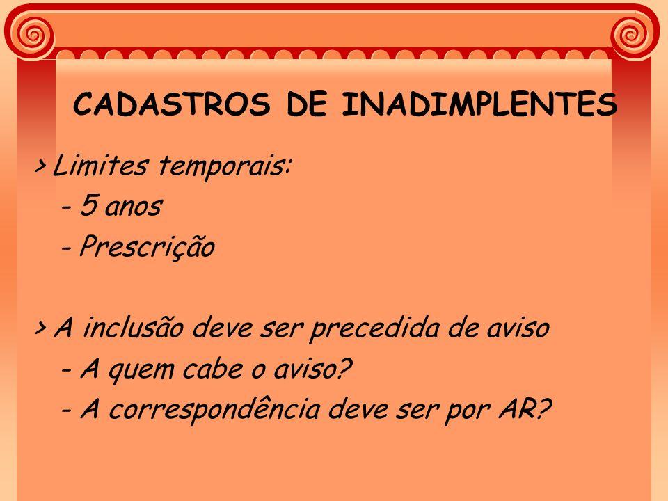 CADASTROS DE INADIMPLENTES