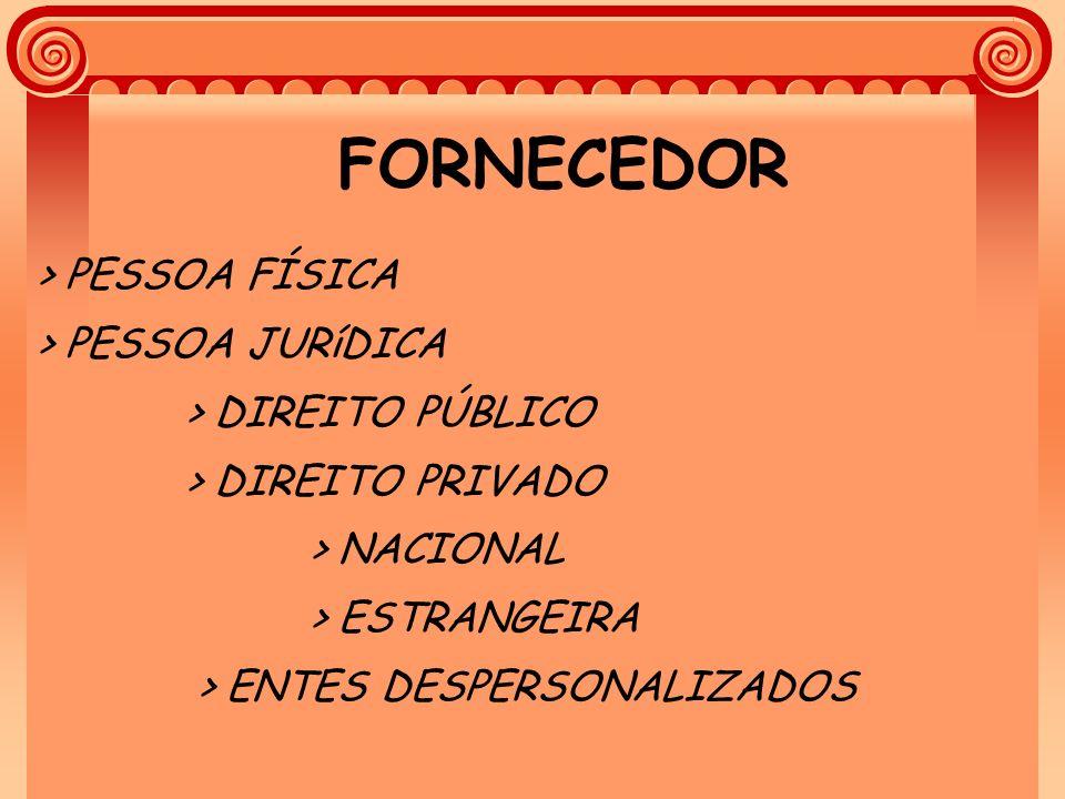 FORNECEDOR > PESSOA FÍSICA > PESSOA JURíDICA