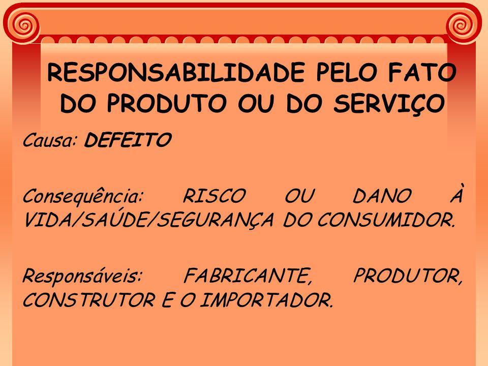 RESPONSABILIDADE PELO FATO DO PRODUTO OU DO SERVIÇO