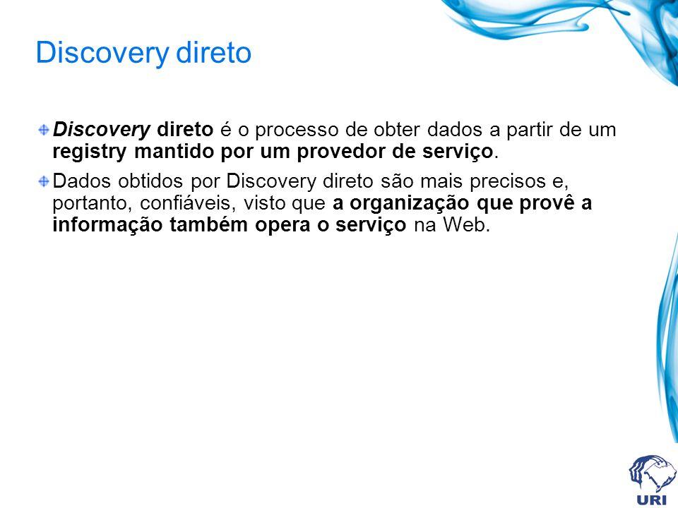 Discovery direto Discovery direto é o processo de obter dados a partir de um registry mantido por um provedor de serviço.