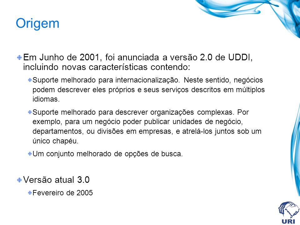 Origem Em Junho de 2001, foi anunciada a versão 2.0 de UDDI, incluindo novas características contendo: