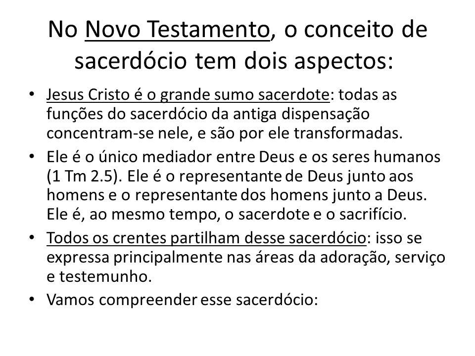 No Novo Testamento, o conceito de sacerdócio tem dois aspectos: