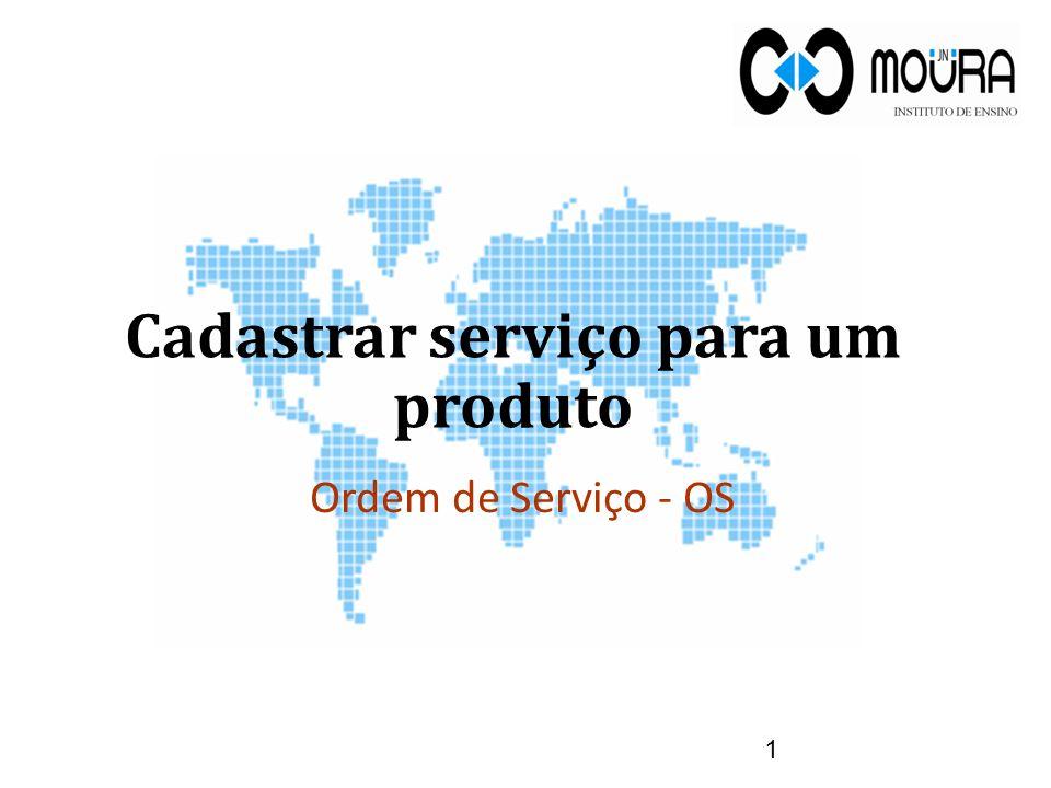 Cadastrar serviço para um produto