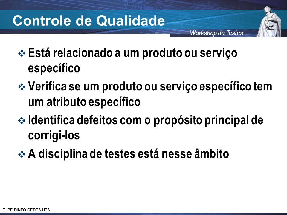Controle de Qualidade Está relacionado a um produto ou serviço específico. Verifica se um produto ou serviço específico tem um atributo específico.