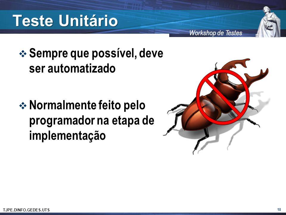 Teste Unitário Sempre que possível, deve ser automatizado