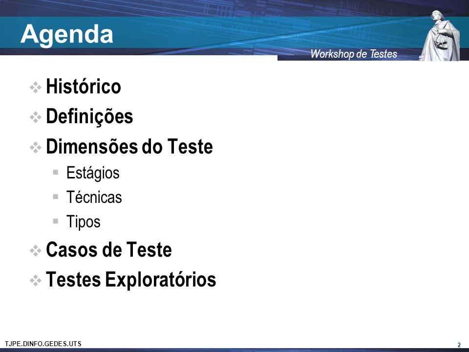 Agenda Histórico Definições Dimensões do Teste Casos de Teste
