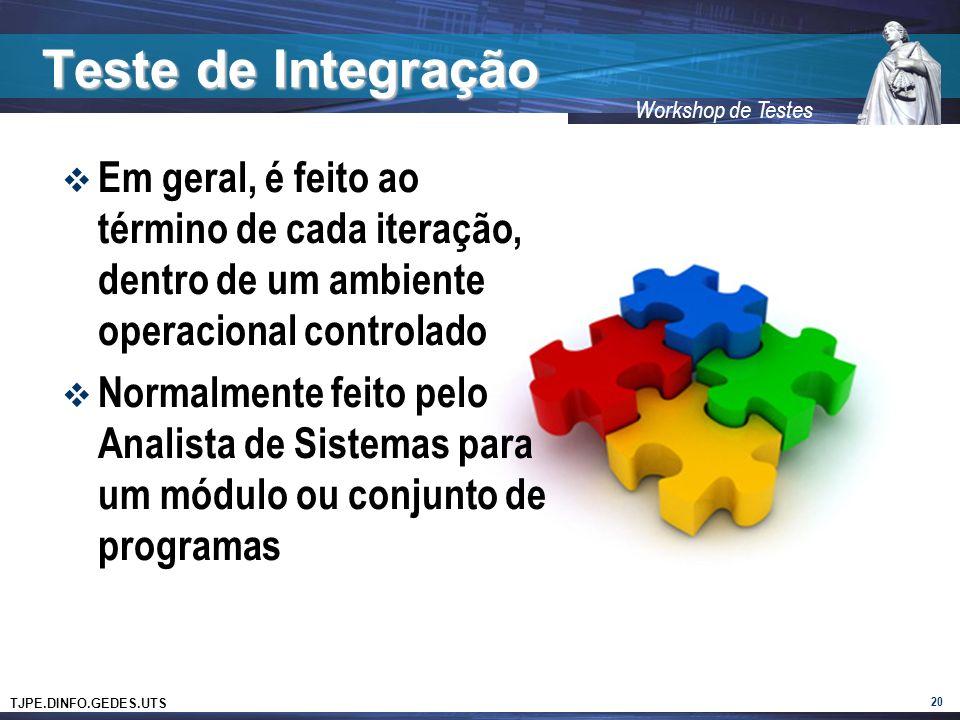 Teste de Integração Em geral, é feito ao término de cada iteração, dentro de um ambiente operacional controlado.