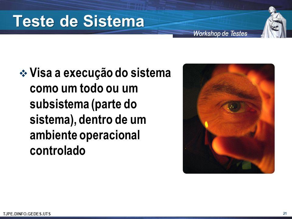 Teste de Sistema Visa a execução do sistema como um todo ou um subsistema (parte do sistema), dentro de um ambiente operacional controlado.
