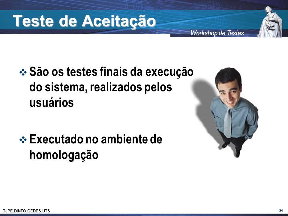 Teste de Aceitação São os testes finais da execução do sistema, realizados pelos usuários. Executado no ambiente de homologação.