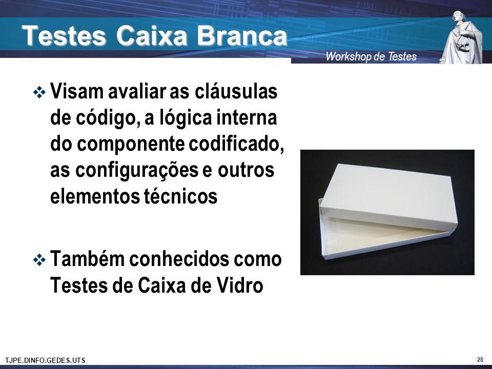 Testes Caixa Branca Visam avaliar as cláusulas de código, a lógica interna do componente codificado, as configurações e outros elementos técnicos.