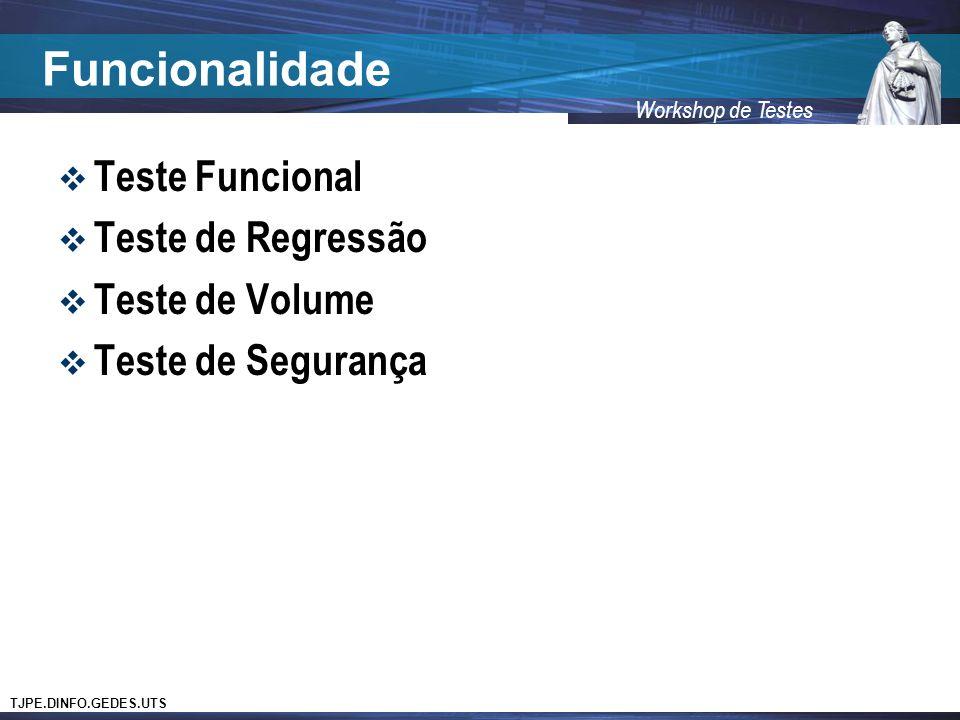Funcionalidade Teste Funcional Teste de Regressão Teste de Volume